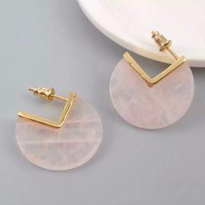 SALE‼️24K Gold Natural Rose Quartz Slice Earrings